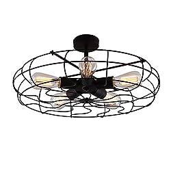 BAYCHEER HL371436 Industrial Vintage style 110V Semi Flush Mount Ceiling Light Metal Hanging Fixture lighting with 5 Lights use E26 Bulb, Black
