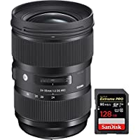 Sigma 24-35mm F2 DG HSM Standard-Zoom ART Lens for Canon SLR EF Cameras (588954) with Sandisk Extreme PRO SDXC 128GB UHS-1 Memory Card
