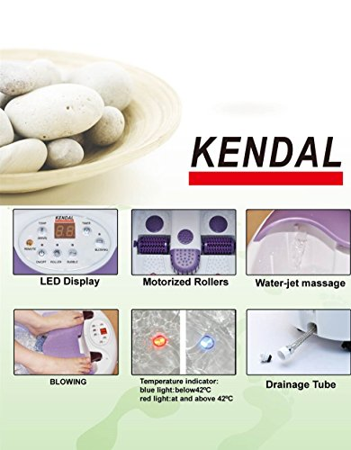 All in one foot spa bath massager w/ motorized rolling massage, heat, wave, O2 bubbles, water fall, digital temperature control LED display FBD1023 by Kendal (Image #3)