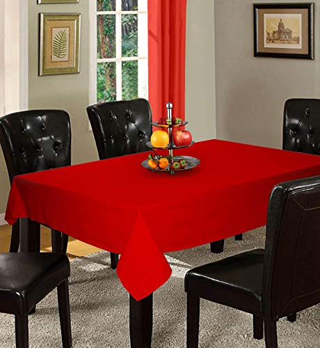 Lushomes Plain Tomato Holestitch Cotton for 6 Seater Red Table Covers
