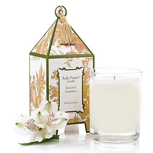 Seda France Classic Toile Pagoda Box Candle, Elegant Gardenia, 10.2 Ounce ()
