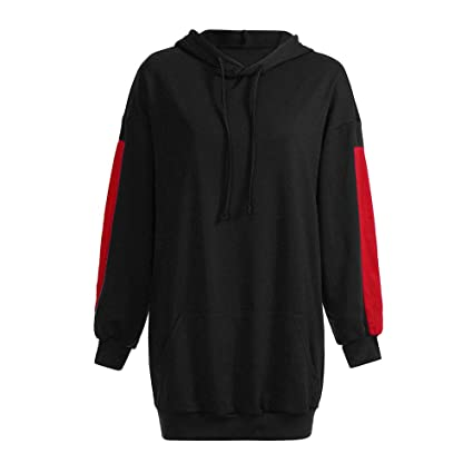 WaiiMak 2019 Fashion Women Loose Patchwork Clothes Hoodies Pullover Coat Hoody Sweatshirt (S, Black