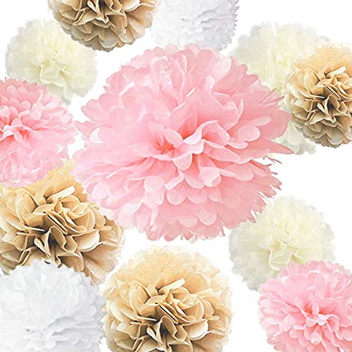 """Vidal Crafts Set of 20 Pieces Party Tissue Paper Pom Poms Kit (14"""", 10"""", 8"""", 6"""" Paper Flowers) for Wedding, Birthday, Baby Shower, Nursery or Playroom Decorations - Pink, Champagne, Ivory, White"""