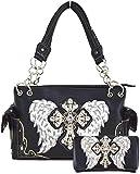 Western Origin Embroidered Angel Wings and Rhinestone Studded Cross ShoulderBag Handbag Wallet Purse Set (black)