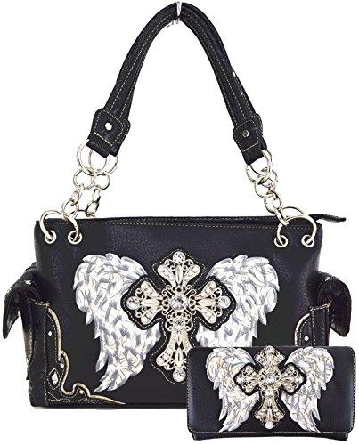 Western Origin Embroidered Angel Wings and Rhinestone Studded Cross ShoulderBag Handbag Wallet Purse Set (Angel Fashion Accessories)