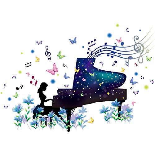 SWORNA Nature Series Flower Butterfly Girl Piano Removable Vinyl DIY Wall Art Mural Sticker Decal Decor for Living Room/Bedroom/Playroom/Hallway/Kindergarten/Home Office/School 26H X 37W