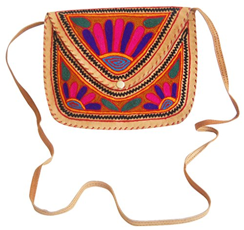 Handmade Bag Sling Embroidered Ethnic Multi Color Beautiful Shoulder Leather Camel z1v5qBw