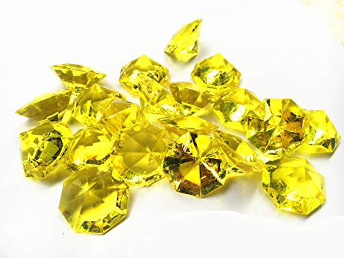 Jane Shop Acrylic Diamond, 1.2 Inch Acrylic Colorful Round Treasure Gemstones Faux Round Confetti Diamonds Crystals for Table Scatters, Vase Fillers, Party Decoration, Pack of 70 Pcs (Yellow) ()
