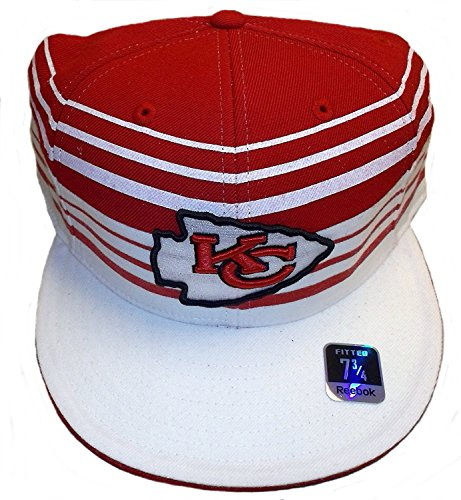 Reebok Kansas City Chiefs Structured Striped Fitted Hat Size 7 3/4