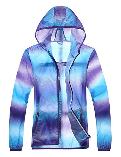 Only Faith Women Outdoor Ultra Thin Anti UV Quick Dry Hooded Clothing Jacket(M, purple)