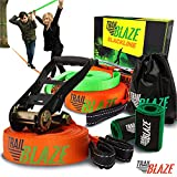 Premium Slackline Kit with Training Line - Ideal for Beginners Kids - Tree Protectors Arm Trainer Ratchet Cover - Easy Setup 50ft Slack Lines Outdoor Healthy Fun - Slacklines Starter Kit