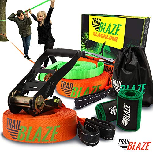 Trailblaze Complete Slackline Kit with Training Line - Tree Protectors Arm Trainer Ratchet Cover Ideal for Beginners Kids - Slack Lines for Backyard - Ninja Tight Rope for Trees Easy Setup 50 ft