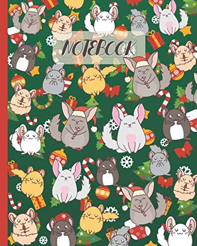 Notebook: Cute Chinchillas Cartoon & Christmas Party - Lined Notebook, Diary, Track, Log & Journal - Gift Idea for Boys Girls Teens Men Women (8'x10' 120 Pages)