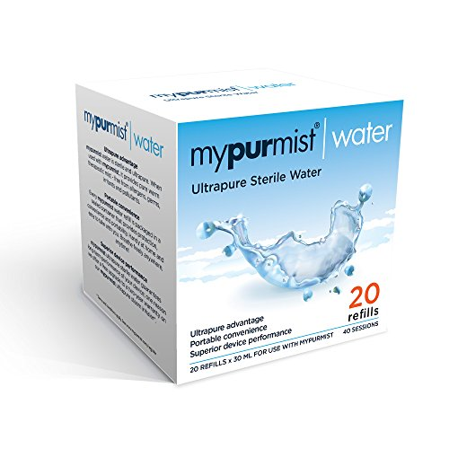 Mypurmist Ultrapure Sterile Water for Cordless Mypurmist Free and (plug-in) MyPurMist, 20 Refills - 40 Sessions