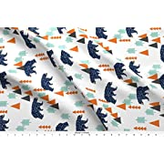 Spoonflower Bear Fabric Forest Bear//Boy Nursery Boys Baby Orange Mint Navy Blue Geometric Bear Mountains Trees by Andrea Lauren Printed on Basic Cotton Ultra Fabric by the Yard
