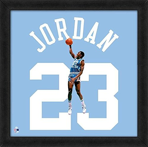 Michael Jordan North Carolina Jersey (Michael Jordan University of North Carolina Jersey Uniform 20 x 20 Framed Photo - Licensed NCAA Memorabilia)