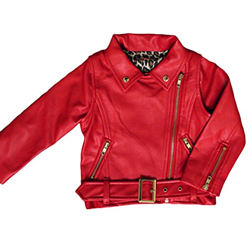 ASHERANGEL Girl's Fashion Collar Motorcycle Jackets Biker PU Leather Coat Red 8-9Y