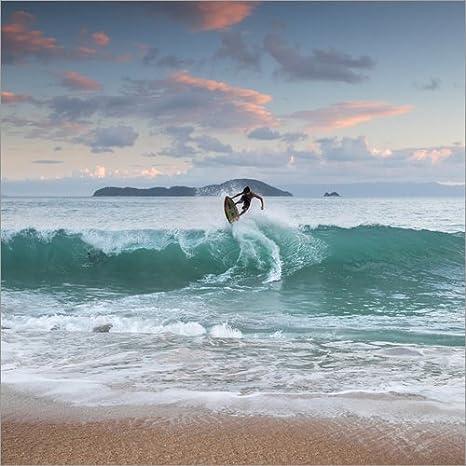 Reproduction Haut de Gamme Poster 13 x 13 cm Surfing at Sunset in Paradise de Alex Saberi Nouveau Poster
