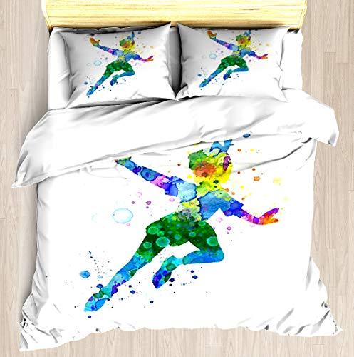 NTCBED Watercolor Peter Pan - Duvet Cover Set Soft Comforter Cover Pillowcase Bed Set Unique Printed Floral Pattern Design Duvet Covers Blanket Cover Twin/XL Size