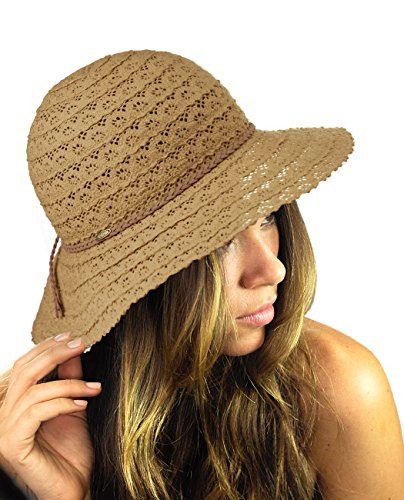 (NYFASHION101 Open Knit Brown Braided Trim Vented Cotton Beach Sun Hat -)