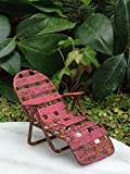 Miniature Dollhouse Fairy Garden Sea Beach Lake Rustic Red Chaise Lawn Chair