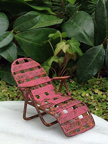 Miniature Dollhouse Fairy Garden Sea Beach Lake Rustic Red Chaise Lawn Chair by Miniature