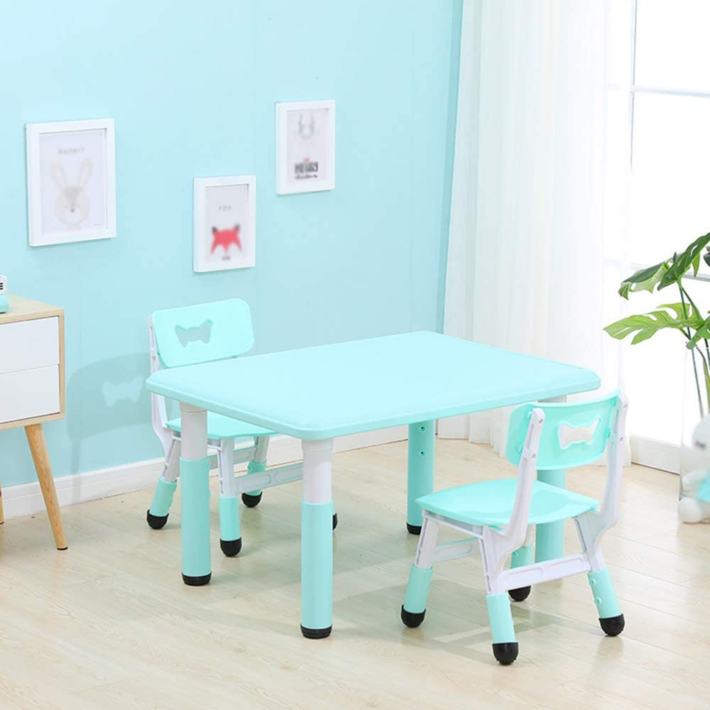 Eating Yellow and Pink Adjustable Household Plastic Table Toddlers Table and Chair Set Study Table Baby Dining Table Writing