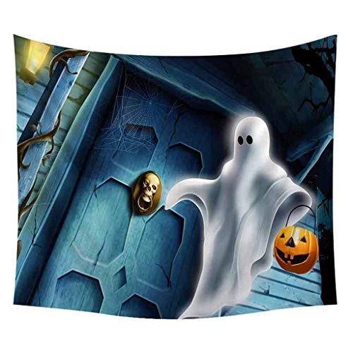 Not So Scary Halloween Party Map (Bosji Halloween Theme Tapestry Wall Hanging for Home,Scary Pumpkin Face Night Moon Withered Tree Castle Printed Tapestry Wall Art for Living)