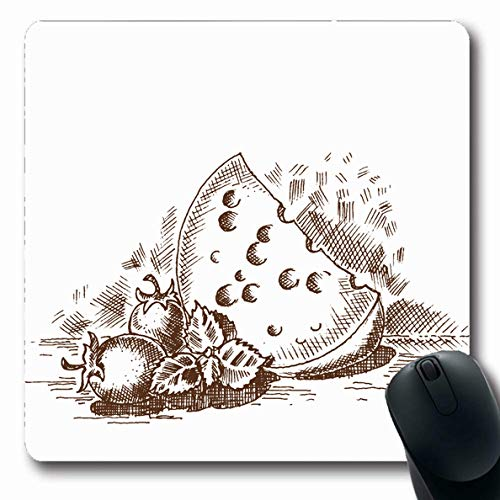 Ahawoso Mousepads France Engraved Vintage Clip Cheese Black Food Drink 19Th Antique Design Old Oblong Shape 7.9 x 9.5 Inches Non-Slip Gaming Mouse Pad Rubber Oblong Mat