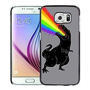 Samsung Galaxy S6 Case,100% brand new T Rex Dinosaur Puking Rainbow Black Case For Samsung Galaxy S6