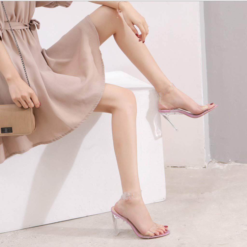 Memela Clearance sale Ladies High Heel Sandals Summer Open Toe Ankle Strap Clear Band Sandals Dress Casual Shoes