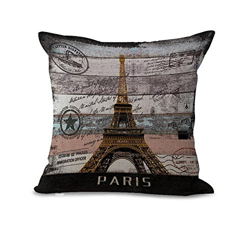 Paris 20x20in Pillow Case Cover Home Decor Square Pillow Sham Twin Sides Printing Pillow Protector Christmas Gift (Paris) (Jr Twin Chair Cover)