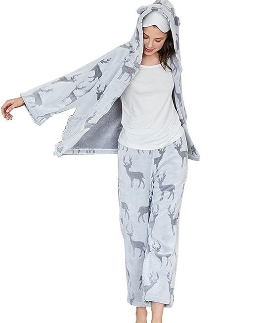 Pijamas de Navidad Ciervo Manga Larga Pijama Set para Mujer Gris M