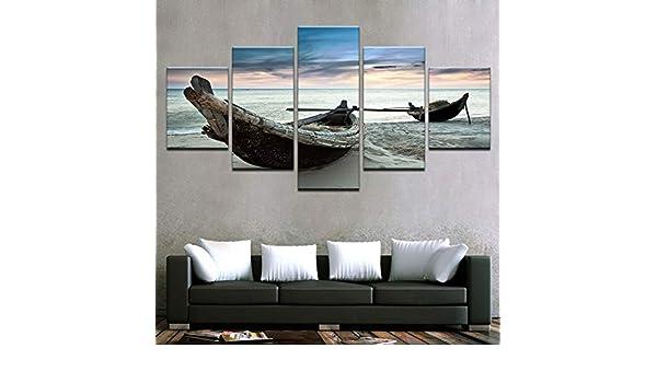 Canvas s Wall Art HD Imprime Fotos Decoración para el hogar 5 Piezas Playa Paisaje Barco Paisaje Marino Carteles para la Sala de Estar: Amazon.es: Hogar