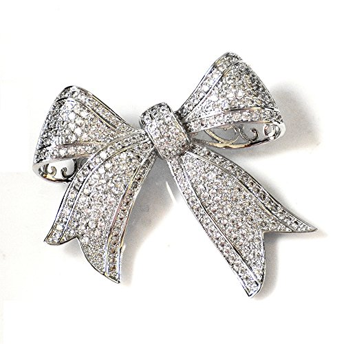 Dreamlandsales Victorian Vintage Full Micro Pave Ribbon Bow Brooches Silver - Tone Bow Brooch