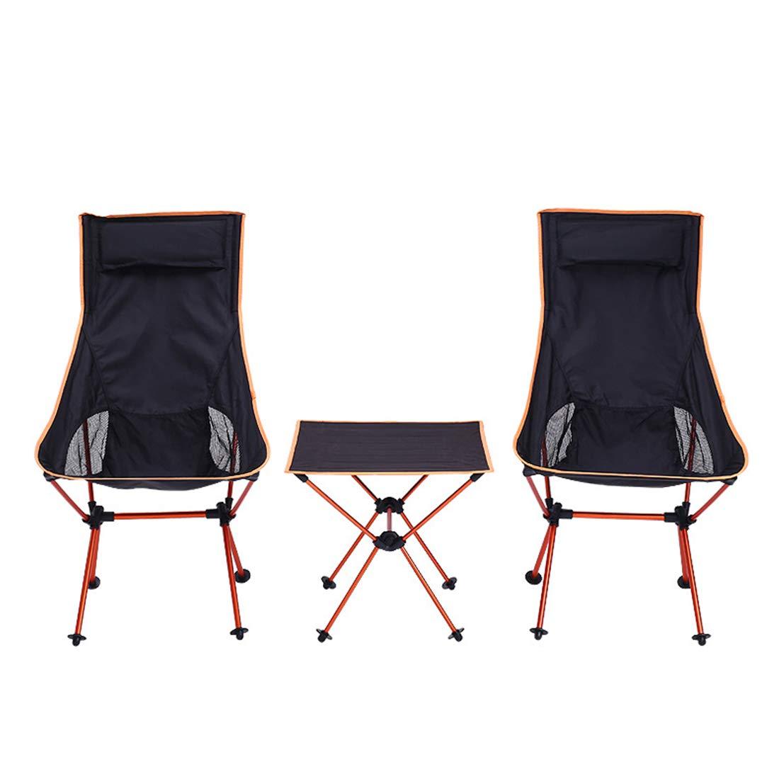 FUBULECY Klappbarer Stuhl für Außenbereich Klappbarer Stuhl für Kopfteil 3-teiliges Set Tragfähigkeit für Familien 120 kg Montierter kompakter Stuhl mit speziellen Fällen Kampierende Ausrüstung Fische
