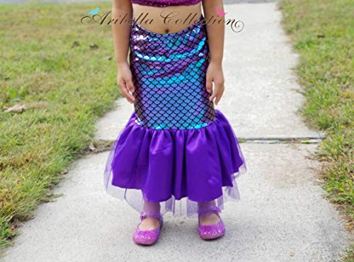 (Aribella Collection Girls Little Mermaid Fish Tail Skirt Size Medium Iridescent Color)