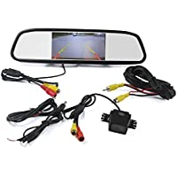 LUCOG Vehicle Security Parking Reverse System [Waterproof & Infrared Night Vision] Including Backup Camera & 4.3 inch LCD Rear-view Mirror Kit for Any Car & Pickup Truck (4.3 Complete Set)