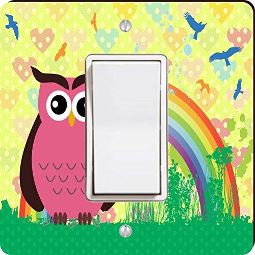 Rikki Knight 9280 Single Rocker Pink Owl On Rainbow Hearts Design Light Switch Plate by Rikki Knight