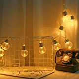 Nesee Battery Operated Hanging Lights, LED Clear Bulb Copper String Lights, 1.8M 10 Bulbs Warm White Globe LED Wire Hanging Light for Christmas Halloween Wedding Party Indoor Outdoor Decor