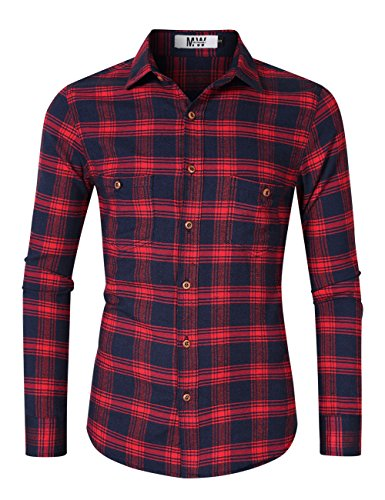 MrWonder Men's Bamboo Fiber Dress Shirt Elastic Casual Slim Fit Solid Long Sleeve Button Down Shirts (2XL, Red)
