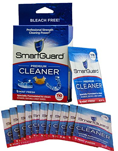 SmartGuard PREMIUM CLEANER Crystals antibacterial for mouth Clear Braces, Retainer Cleanser or Dental Oral Night Guard Partial Denture, Invisalign Ortho, Sport & Sleep anti Snore appliance, TMJ Splint