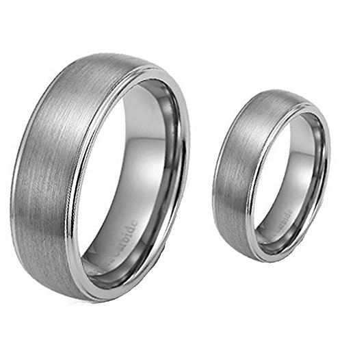 2-Ring-Set-8mm-His-6mm-Hers-Matte-ShinyEdge-Tungsten-Carbide-Engagement-Wedding-Bands