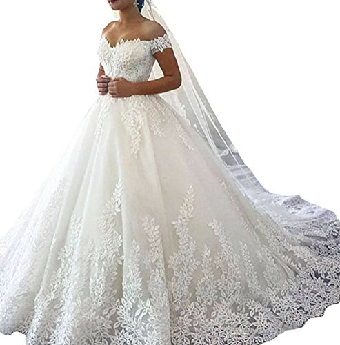 Gethsemane Women's Off Shoulder Applique Lace Ball Gown Wedding Dress Bridal Gowns White 14