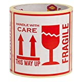 100 FRAGILE STICKERS This Way Up Stickers Handle With Care Stickers LARGE 10x10CM