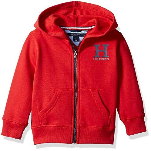 (Tommy Hilfiger Toddler Boys' Long Sleeve Matt Logo Zip up Hoodie, Matt Scarlet Sage, 3T)