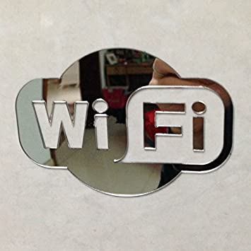 Amazon Wifi Sign Mirrored Sticker For Glass Door Of Coffee Shop
