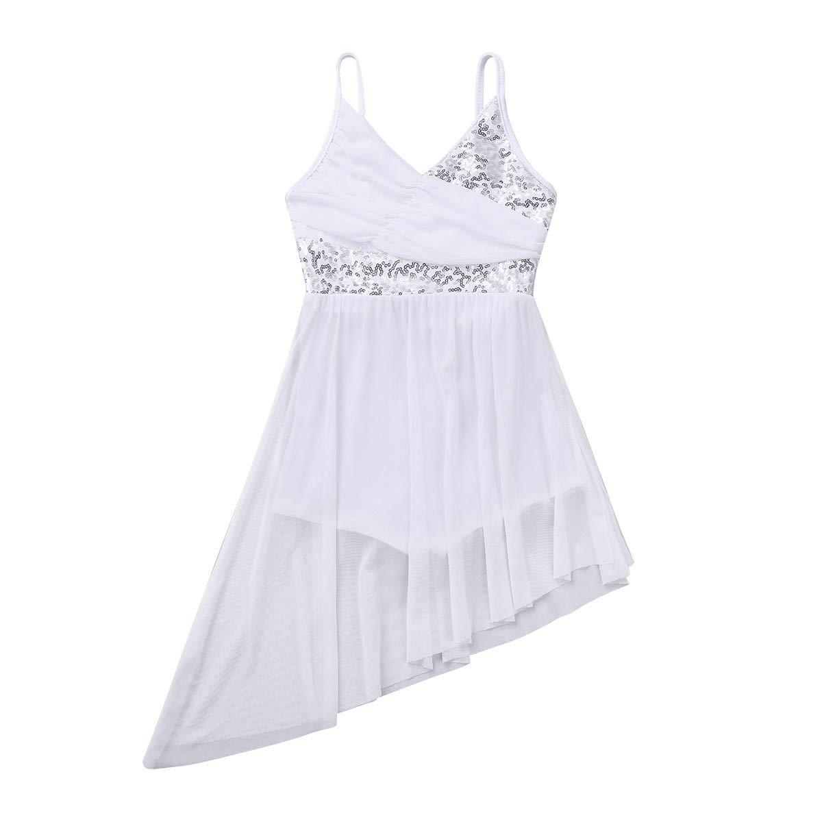 iiniim Girls V-Neck Sequined Ballet Lyrical Dance Dress Gymnastics Camisole Leotard Asymmetrical Chiffon Skirts