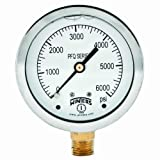 Winters PFQ Series Stainless Steel 304 Single Scale Liquid Filled Pressure Gauge with Brass Internals, 0-6000 psi, 2-1/2'' Dial Display, +/-1.5% Accuracy, 1/4'' NPT Bottom Mount