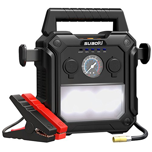 SUAOKI U29 2000A Peak Portable Car Jump Starter (up to 10.0L Gas or 8.0L Diesel Engines) 4-In-1 Battery Booster 150 PSI Air Compressor Power Pack with Cigarette Lighter Socket for 12V Car Boat (Strobe Led Professional System)